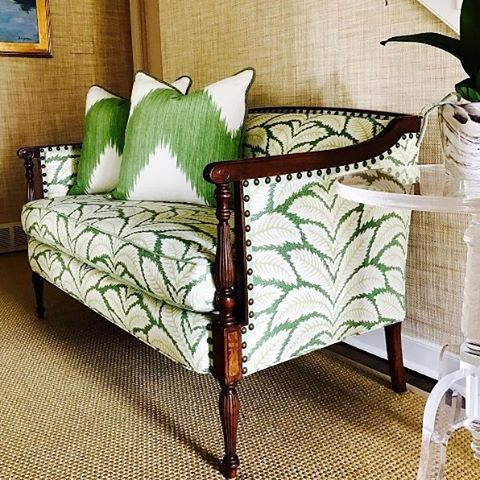 "Brunschwig & Fils on Instagram: ""We're green with envy over this stunning Talavera-dressed loveseat. #BrunschwigFabrics #repost…"""