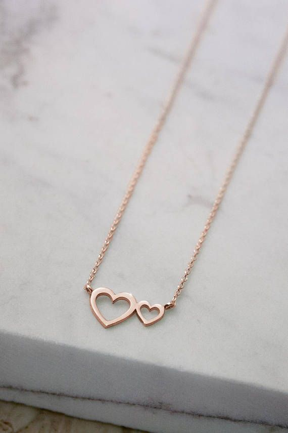 Double Heart Necklace Romantic Pendant 9k 14k 18k Rose Gold Necklace Women S Necklace Gift For Mom Two Heart Necklace Gold Love Heart Double Heart Necklace Gold Necklace Gold Heart Necklace
