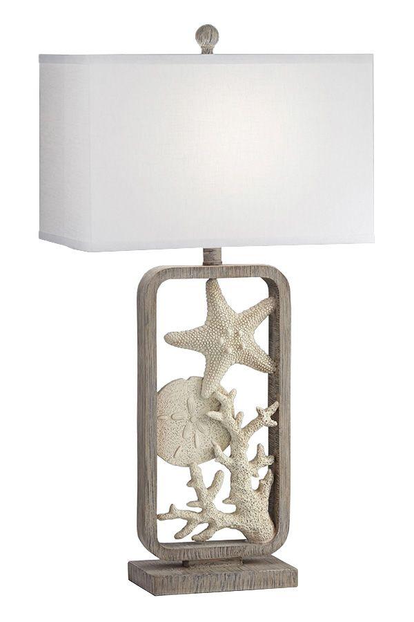Under The Sea Starfish Sand Dollar Coastal Table Lamp Lamp Natural Table Lamps Table Lamp