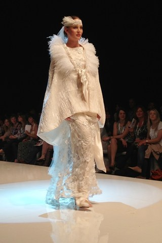 White Gallery Designer Preview Show - Harbridge & Bowen featuring head pieces by Nymphi