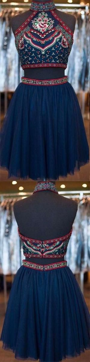 two piece homecoming dresses, embroidery homecoming dresses, short homecoming dresses, navy blue homecoming dresses, tulle homecoming dresses, high neck homecoming dresses, 2piece homecoming dresses