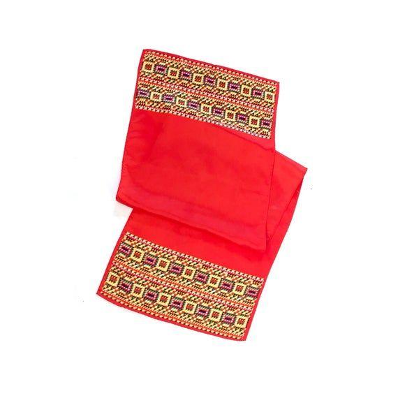 Vintage // Cherry Red Glentex Geometric Tribal Patterned Scarf, Hair Kerchief, Bandana, Hair Wrap, H