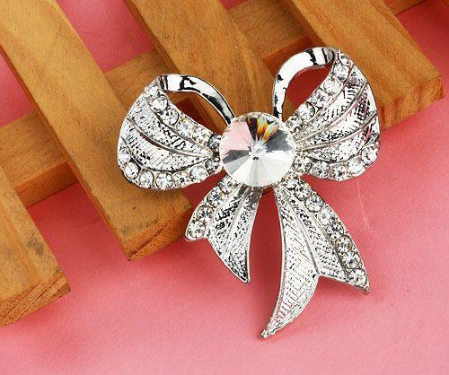 Free Shipping Fashion Cheap Alloy Brooch Rhinestone Bowknot Brooches Women Silver Bride Brooch For Wedding