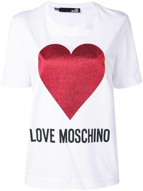 3dbb6dd2f Shop Love Moschino heart print T-shirt   The Garnet Times in 2019 ...