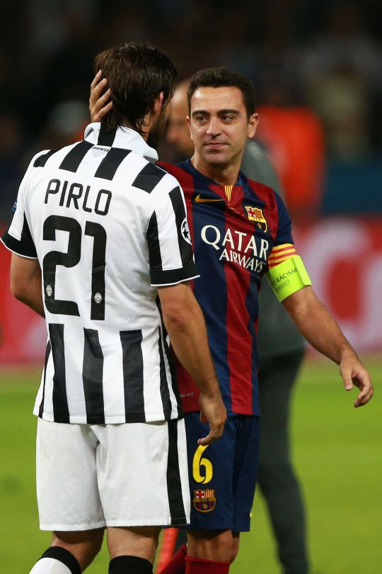the amount of class in this picture is superfluous #Xavi #Pirlo #Maestros