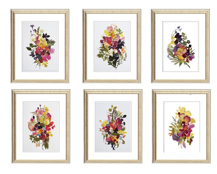 Set of 4 prints Botanicals Prints Herbarium Pressed flower art botanical print set Dry flower wall art plant set floral triptych by FloralCollage on Etsy #plants #botanicalprint #setofprints #driedflower #floral #framedart #dryflower