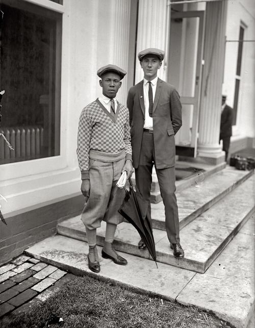 """goldenerasuits:  August 12, 1924. """"International Boys Leagues. Thomas W. Miles and Simon Zebrock of Los Angeles at White House."""""""