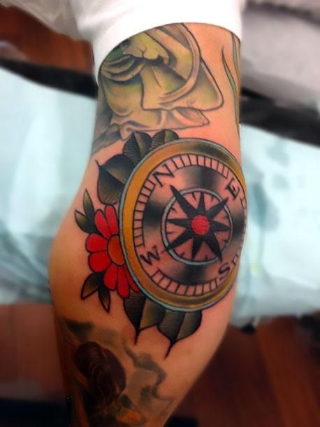 Compass on Elbow Tattoo Idea