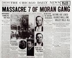 """On Feburary 14, 1929, seven members of the """"Bugs"""" Moran mod were lined up against a garage wall and shot, and this became know as """"The St. Valentine's Day Massacre"""". It is believed that it was members of Capone's mom who shot them."""