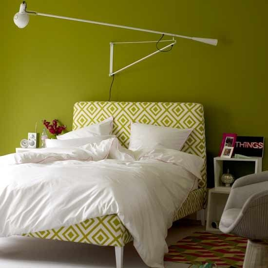 This angular lime green bedroom has a retro feel, with a modern geometric twist. You can't beat green on green, especially when offset with crisp whites and edgy lights. Image: Livingetc
