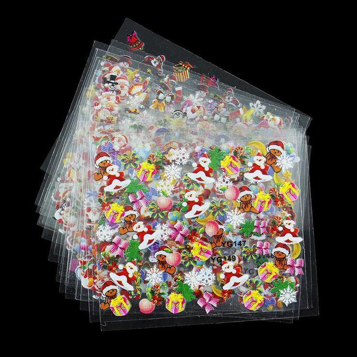 24 Ontwerpen/Veel Schoonheid Kerst Stijl Nail Stickers 3D Nail Art Decotations Glitter Manicure Diy Tools Voor Charmes Nagels JH159