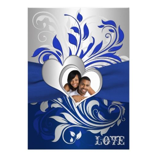 Royal Blue and Silver Wedding | romantic royal and navy blue and silver gray scrolled photo wedding ...