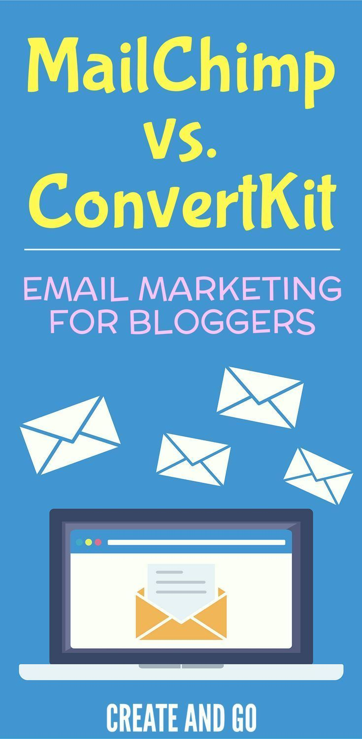 MailChimp vs ConvertKit for email marketing software for bloggers | Best blogging tools and resources at https://createandgo.co/mailchimp-vs-convertkit-email-marketing-software/