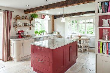 Cottage kitchen accented with red farmhouse-kitchen