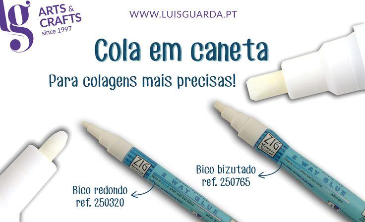 Cola em caneta para facilitar colagens de precisão. Permite depositar uma camada fina de cola que deixa uma marca azul e fica transparente quando seca, permitindo assim controlar a aplicação. -> http://www.luisguarda.pt/pt/Produtos/ARTES-DECORATIVAS/SCRAP/TINTAS-E-CANETAS/PC1258