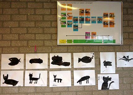 Openbare Basisschool #Hartenaas - Grave | Groep 5 ging aan de slag o.l.v. Hans Huizing om silhouetten van dieren te tekenen met stift en oost-indische inkt.