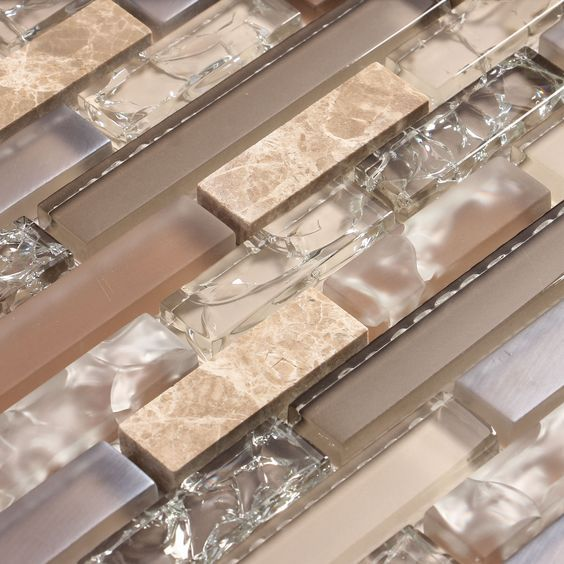 Beige and tan cracked glass tile with stone | backsplash tile | kitchen backsplash tile | bathroom backsplash tile