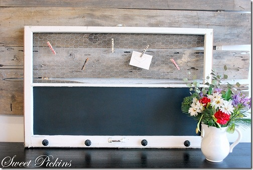 Old window frame into chalkboard, key/coat rack and message center.  I'm not crazy about the chicken wire personally, I would probably do a magnetic board instead with a sheet of galvinized steel.  :)