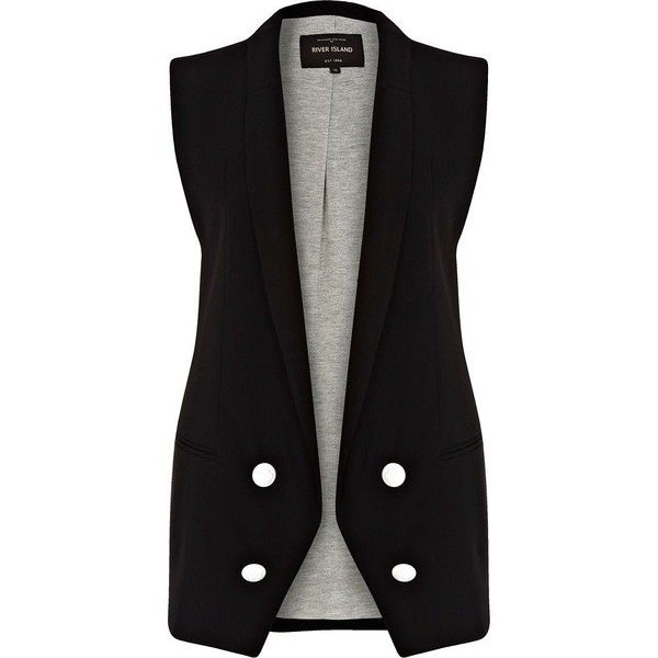 River Island Black longline double breasted waistcoat ($31) ❤ liked on Polyvore featuring outerwear, vests, vest, jackets, tops, sale, waistcoat vest, black vest, longline vest and river island