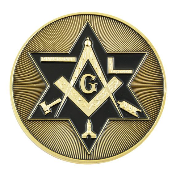 Shining Star of David Working Tools Square & Compass Black and Gold Car Auto Emblem – 3″ Diameter –