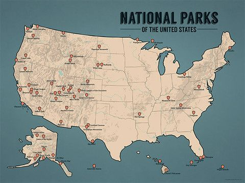 North america map national parks