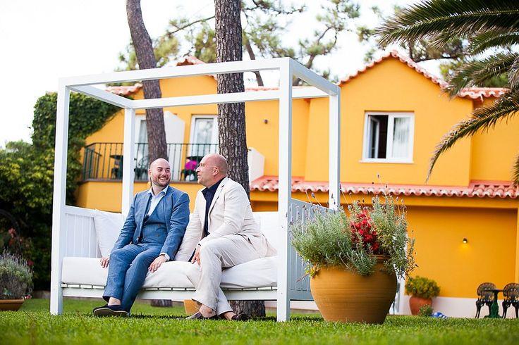 Sweet grooms moment in the Atlantic Garden Lounge at Senhora da Guia Hotel. #destinationweddinginportugal #gayweddinginportugal