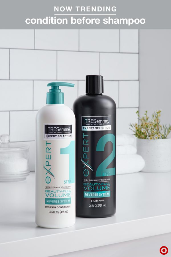 TRESemmé's Beauty-Full Volume Reverse System might just be the secret to perfect hair. Why? Conditioning before you shampoo nourishes hair without weighing it down, resulting in smooth, polished hair that's full of bounce—and with frizz and fly-away hairs kept in check. Start with the Pre-Wash Conditioner to make hair soft and silky, then use the shampoo to gently cleanse.