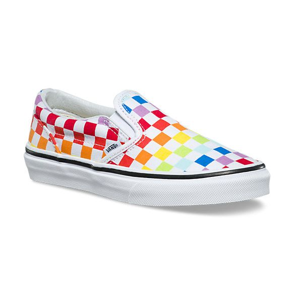 Checkerboard Slip On | Shop Shoes At Vans | Rainbow vans