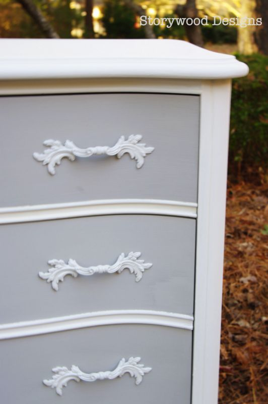 Storywood Designs French Provincial Dresser in Two Tone Finish with Annie Sloan Chalk Paint in Pure White (top & sides) plus Pure White mixed with Paris Grey (drawer fronts).