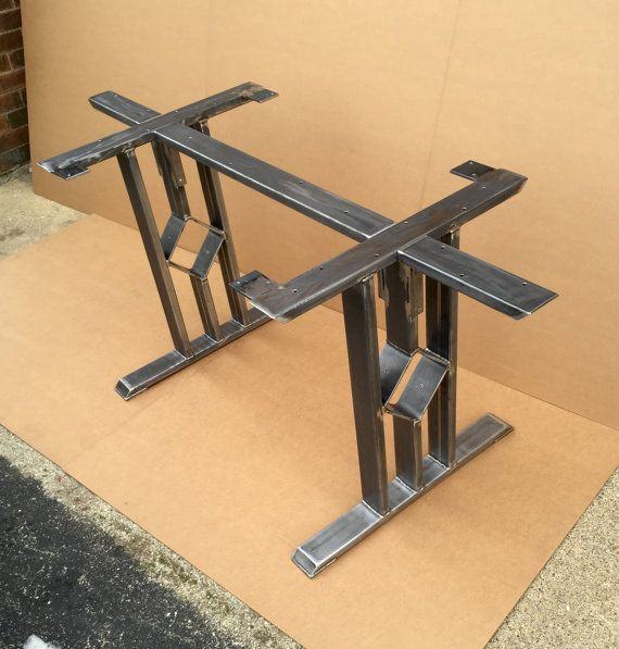 Square Rectangular Modern Dining Table Legs Industrial: Design Dining Table Base, Three Bars With Middle Square