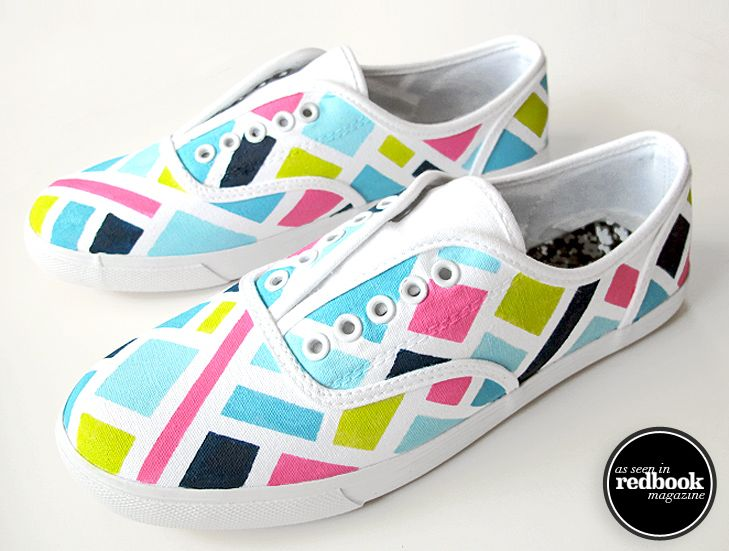 Neon craft? Obviously going to repin this. DIY Summer Sneaker Makeover, Jessica Quirk, Redbook