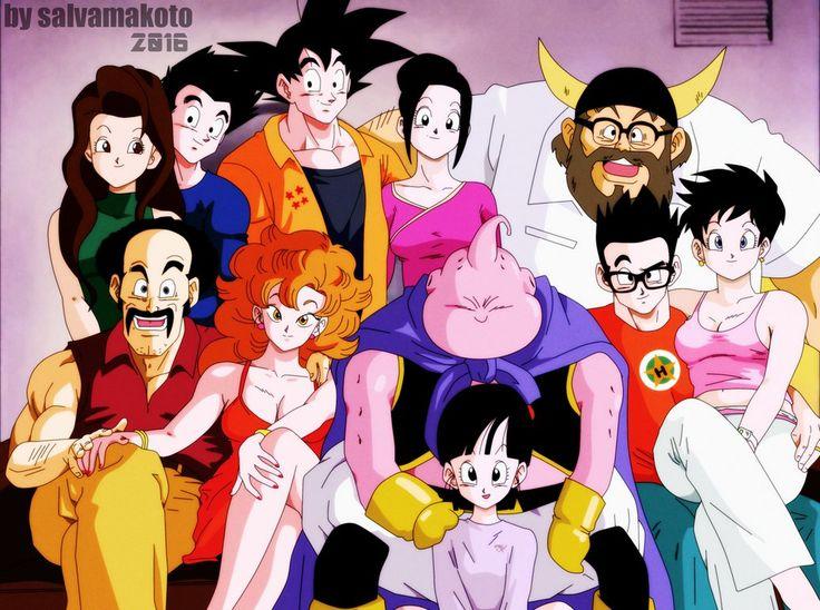 Goku, Chichi, Gohan, Goten, Ox King, Videl, Hercule, Miss Piiza, Valese, Majin Buu, and Pan