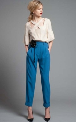 Tracy Reese French Blue Cuffed Pant and Cut Out Blouse.