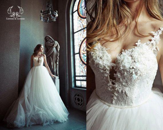 Bal toga trouwjurk. Tulle bruidsjurk. Trouwjurk. Bruids jurk.