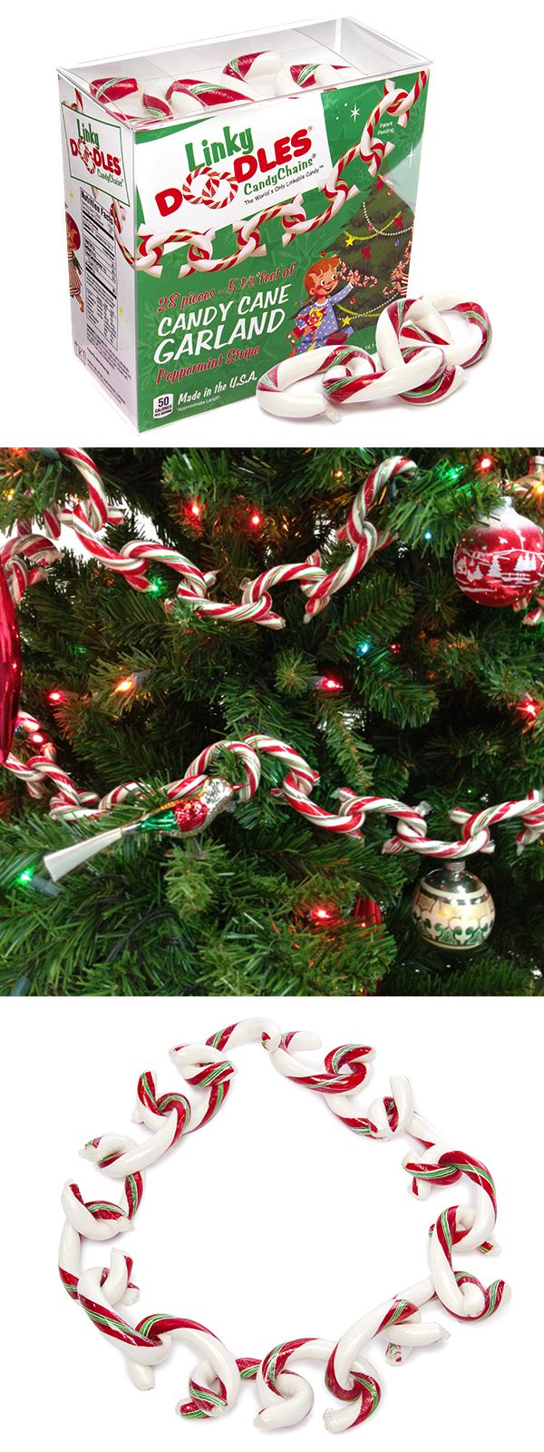 These real candy cane Linky Doodles make for easy DIY family fun. String them around the tree, along the banister, or over the fireplace mantel for a new twist on a classic treat. Each link is individually vacuum sealed to keep the peppermint flavor fresh and yummy. http://www.candywarehouse.com/store/sale/products/christmas-linky-doodles-candy-chains-28-piece-box/?F_All=Y