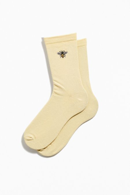 Chenille Earth Patch Crew Sock