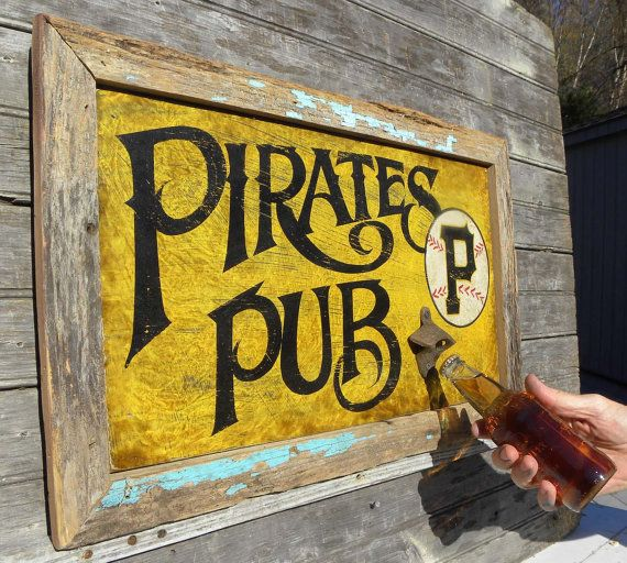 Pittsburgh Pirate Sign Hand Painted Original Wooden Sign