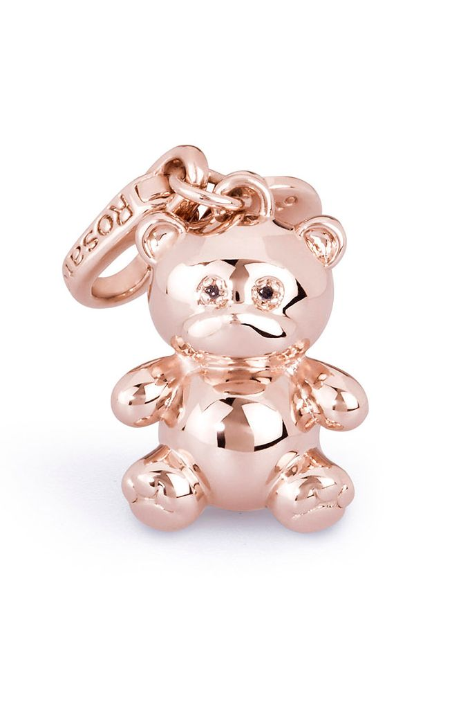Charm orsetto in argento 925 con bagno in oro rosa versione big - limited edition  -  #mothersday