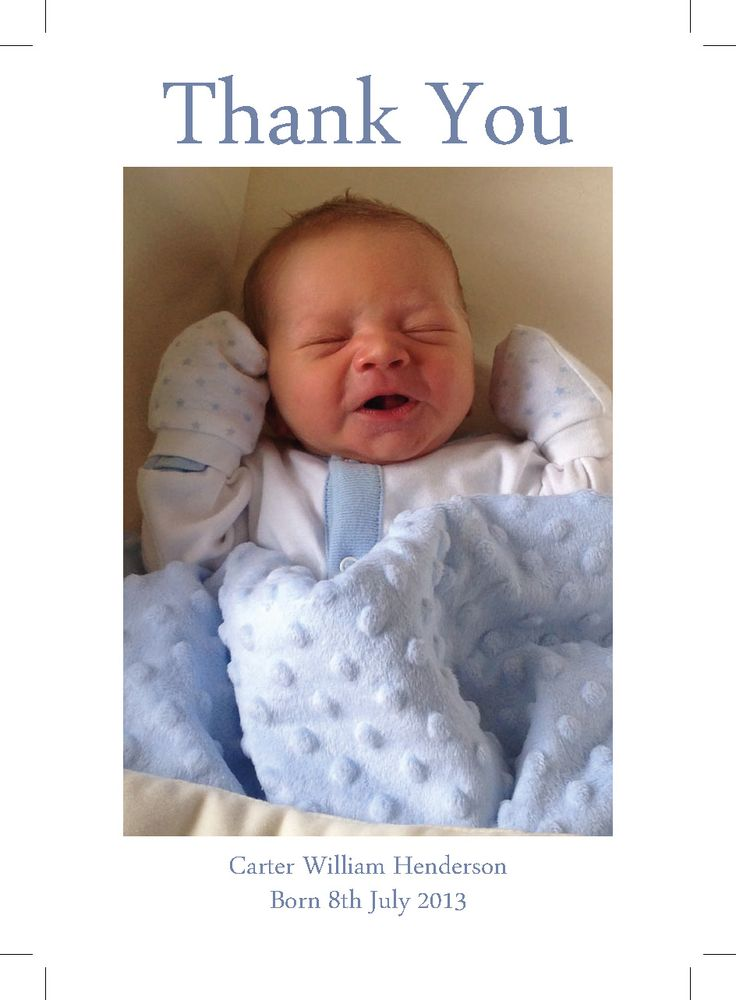 Thank You cards for new arrival.