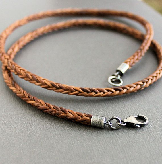 Light brown naturally dyed* cord is uniquely square braided for a thin and simple mens necklace.