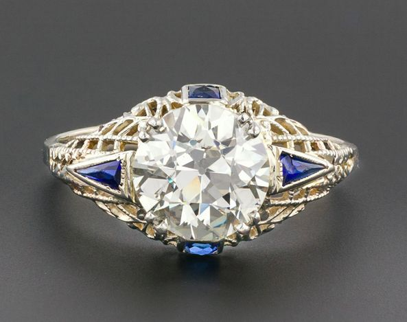 Everybody Loves Estate- XLIII: Art Deco 2.4ct Diamond Engagement Ring, 14k Gold Filigree & Sapphire, Vintage, GIA Certified