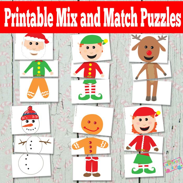 Printable Christmas Puzzles {Busy Bag} Mix and Match puzzle with elves, reindeer, snowman and gingerbread man. | Itsy Bitsy Fun http://www.itsybitsyfun.com/printable-christmas-puzzles.html