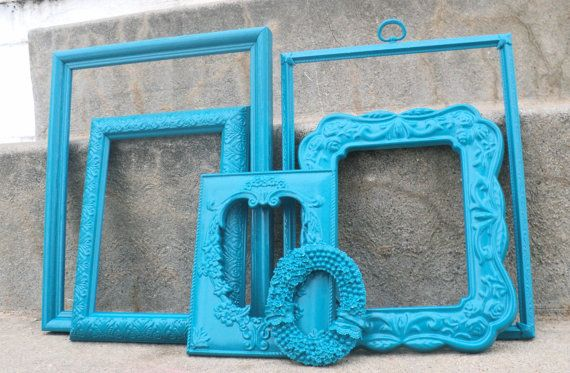 Peacock Blue Picture Frame Set Ornate by melissap6908 on Etsy, $50.00