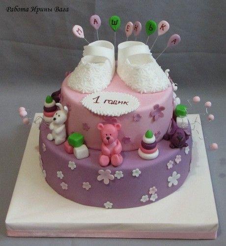 Сиренево розовый торт свадебный