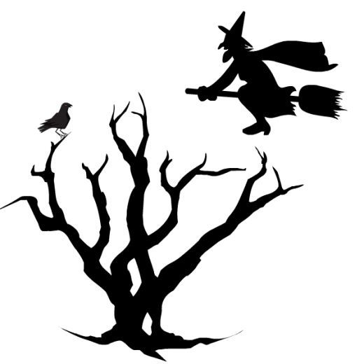 free black and white halloween clip art - Black Halloween Tree
