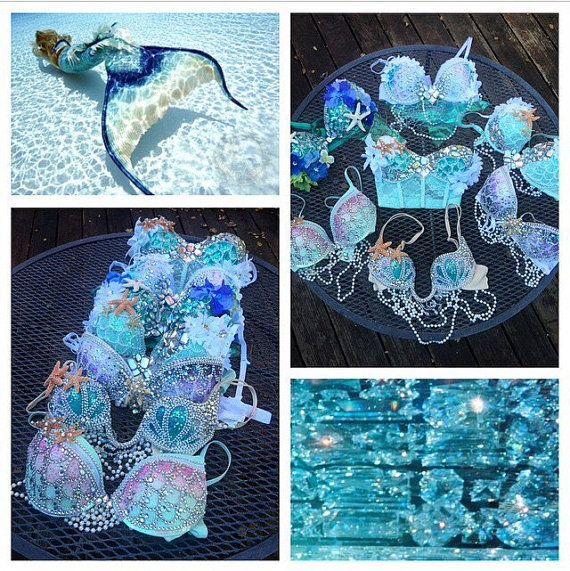 Custom Mermaid Rave Bra // Mermaid Costume by whythecagedbirdsingz