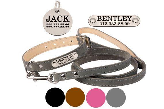 Personalisierte Leder Hundehalsband Leine Set Rosa von CollarDirect