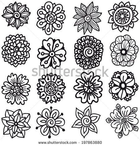 Set Of Sketch Flowers For Your Design. Vector Collection of Hand Drawn Flowers