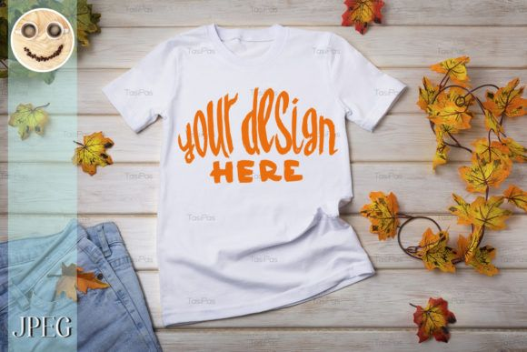Download Unisex T Shirt Mockup With Fall Leaves Graphic By Tasipas Creative Fabrica In 2020 Shirt Mockup Print Design Trends Tshirt Mockup