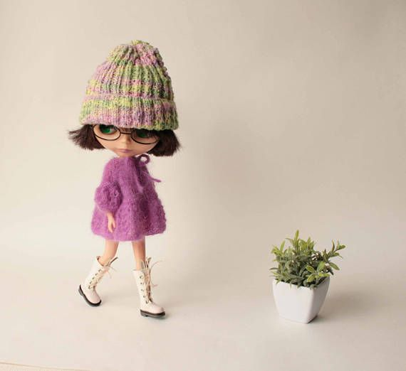 Blythe dress, Hand knitted lilac mohair dress with short sleeve for Blythe doll from VolnaDollsClother, Cozy fluffy clothes for 12 inch doll